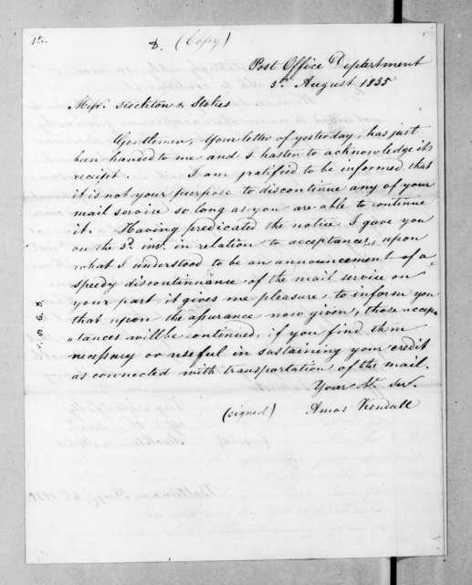 Amos Kendall to Stockton & Stokes, August 5, 1835