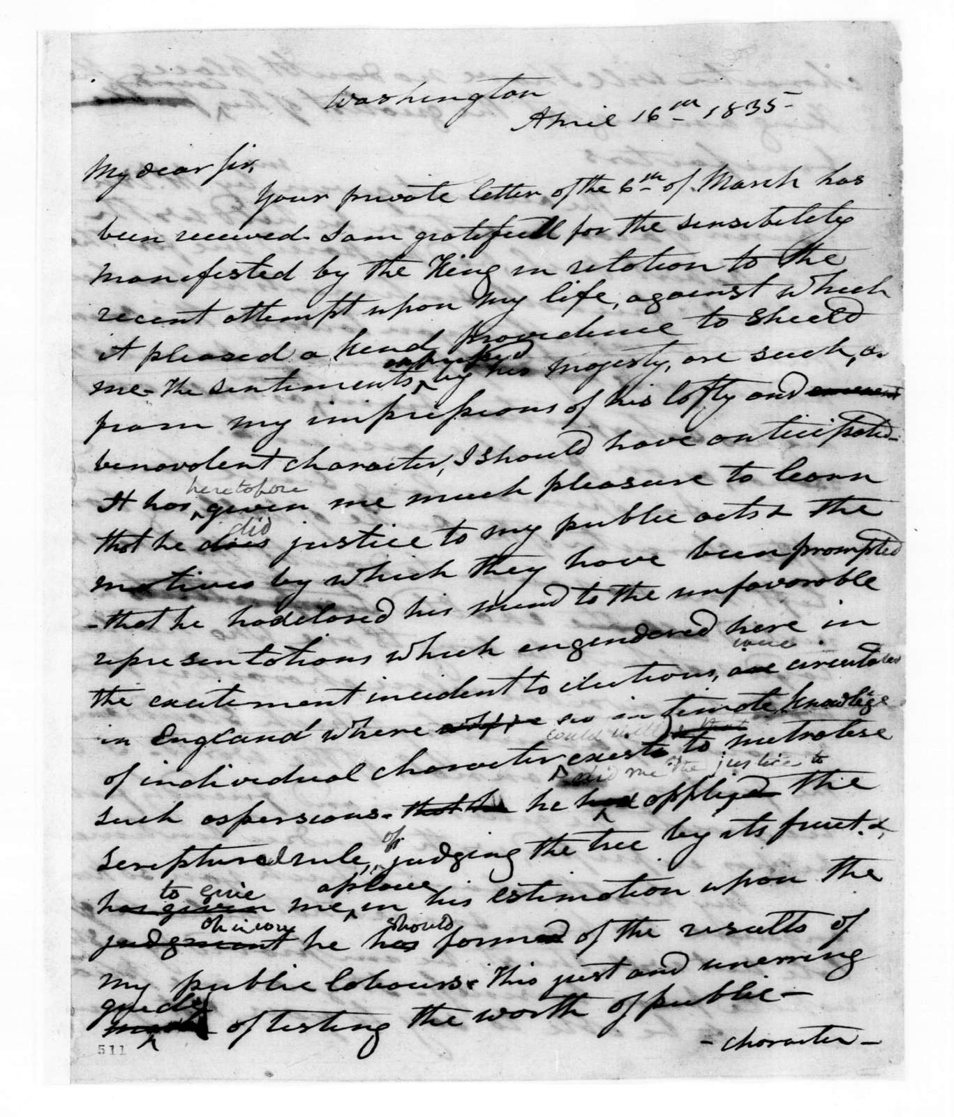 Andrew Jackson to Aaron Vail, April 16, 1835