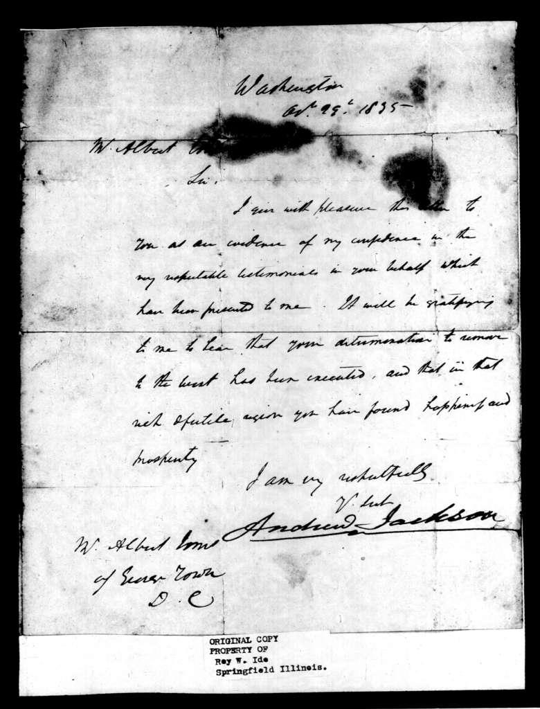 Andrew Jackson to Albert Jones, October 29, 1835