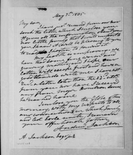 Andrew Jackson to Andrew Jackson, Jr., May 7, 1835