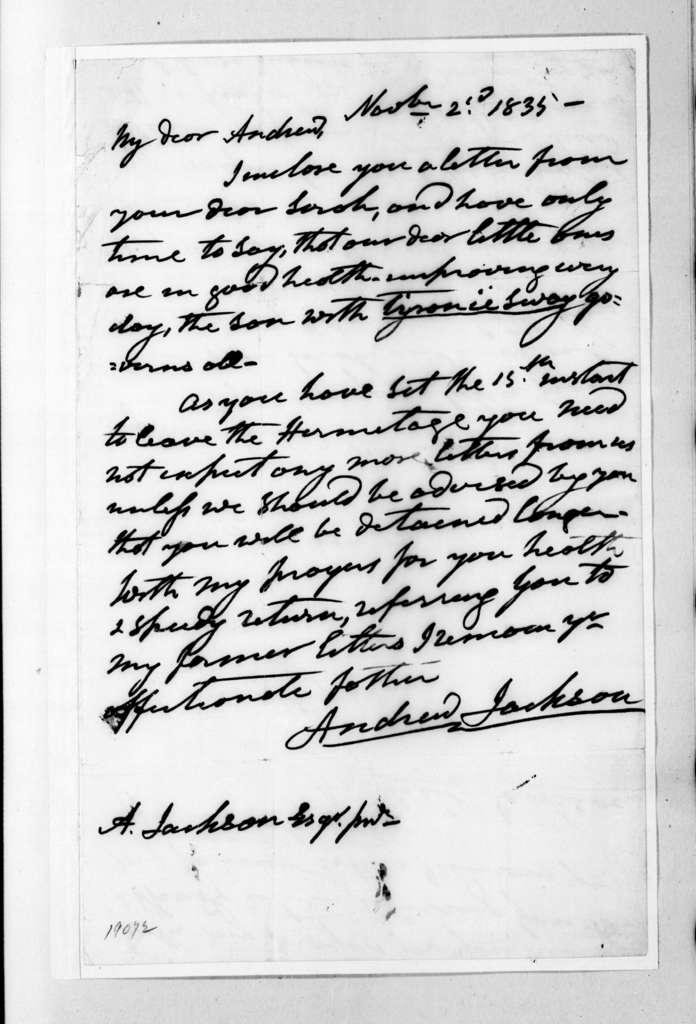 Andrew Jackson to Andrew Jackson, Jr., November 2, 1835