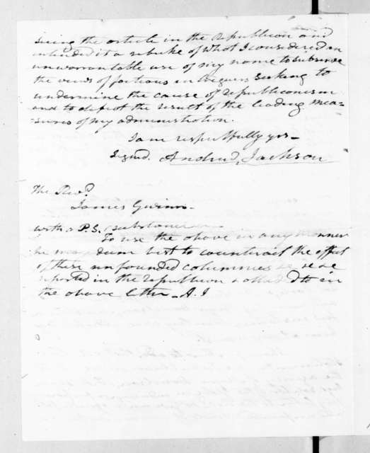 Andrew Jackson to James Gwin, August 12, 1835