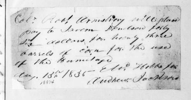Andrew Jackson to Robert Armstrong, August 13, 1835