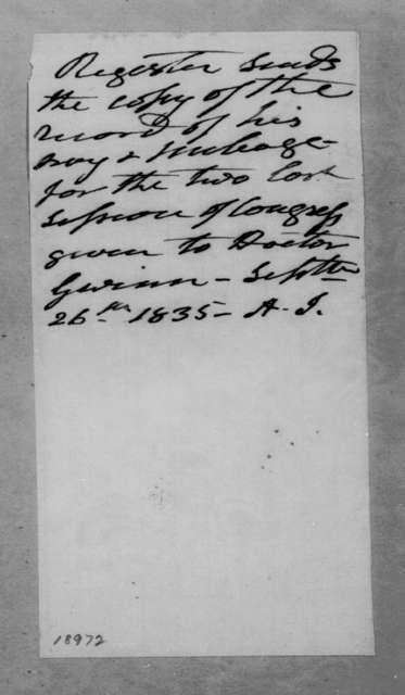 Andrew Jackson to Samuel Gwin, September 26, 1835