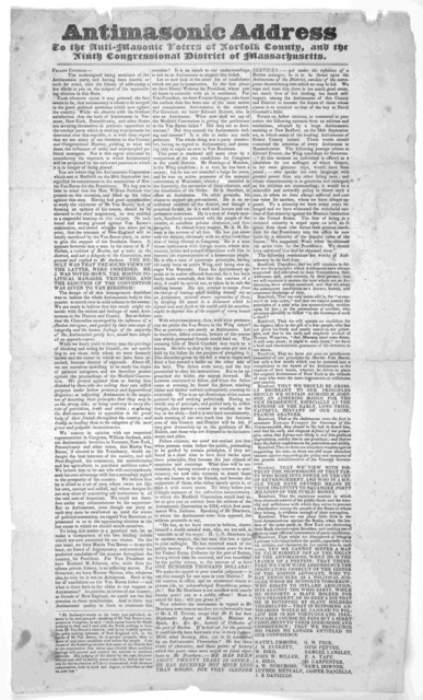 Antimasonic address to the anti-masonic voters of Norfolk County and the ninth Congressional district of Massachusetts. [1835?].