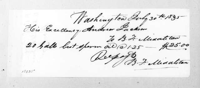 B. F. Middleton to Andrew Jackson, July 30, 1835