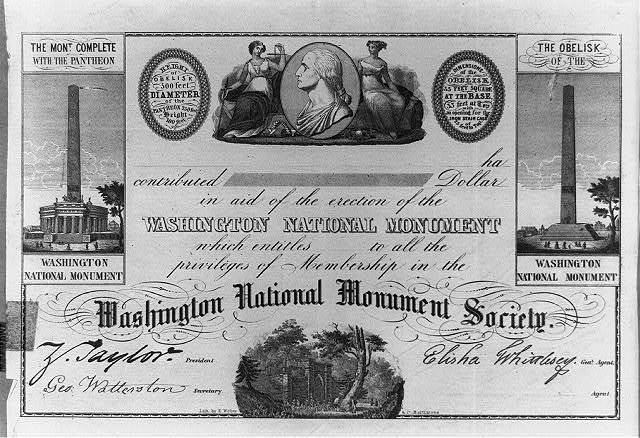 [Blank certificate for donors to the Washington National Monument Society, Washington, D.C.] / Lith. by E. Weber & Co., Baltimore.