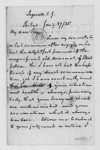 Charles J. Ingersoll to James Madison, January 27, 1835.