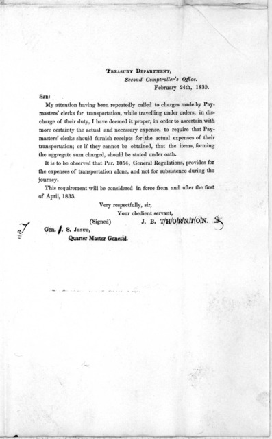 Circular. Quarter master general's office. Washington, February 28th, 1835. Sir: Herewith you will receive a copy of a letter from the Second Comptroller to me dated February 24th, 1835, in regard to the actual expenses of transportation of paym