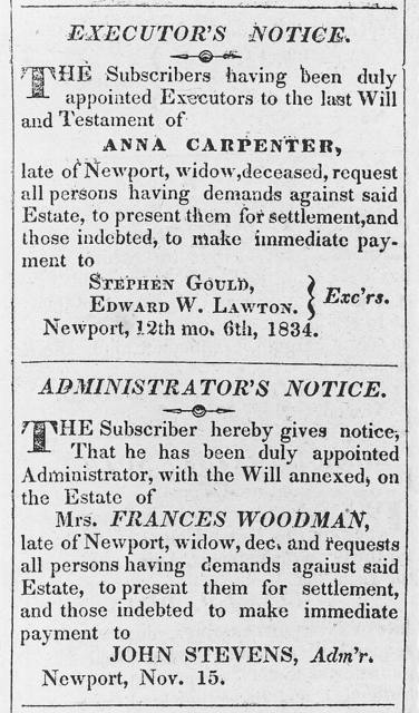 [Executor's notice for will of Anna Carpenter and administrator's notice for estate of Mrs. Frances Woodman]