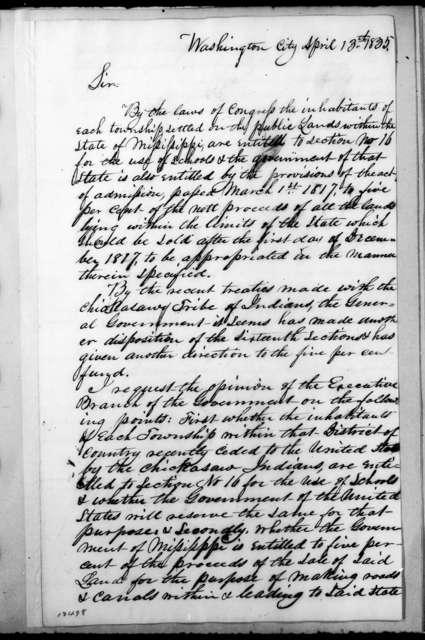 Franklin E. Plumber to Andrew Jackson, April 13, 1835