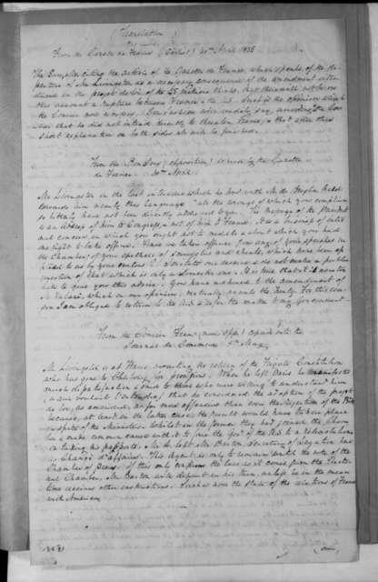 Gazette De France, April 30, 1835