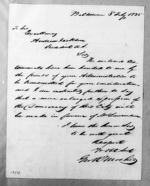George R. Mosher to Andrew Jackson, February 3, 1835