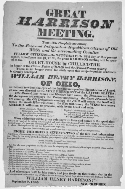 Great Harrison meeting ... in Chillicothe in honor of the Citizen father of Ohio and the North-Western country ... September 7, 1835.