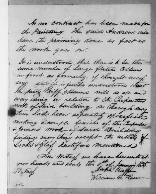 J. Reiff and William C. Hume to Andrew Jackson, Jr., January 1, 1835