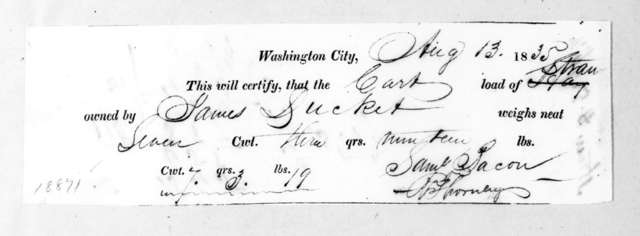 James Ducket to Samuel Bacon, August 13, 1835