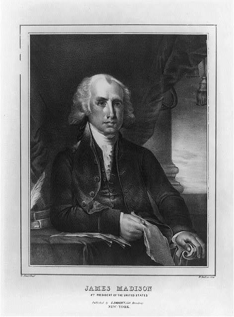 James Madison, 4th president of the United States / G. Stuart pinxt. ; W. Ball on stone.