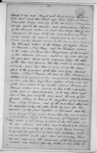 James Madison, April 15, 1835. Copy of James Madison's Will.