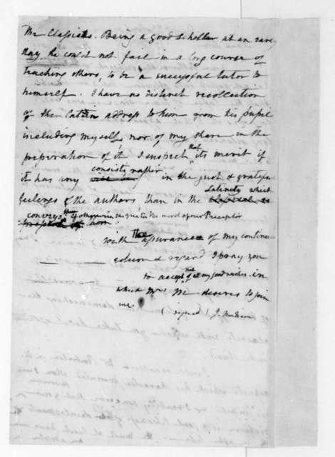 James Madison to Benjamin Waterhouse, November 28, 1835.
