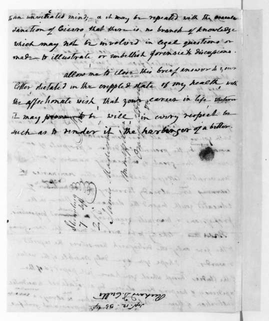 James Madison to Richard D. Cutts, September 12, 1835. With Copy.
