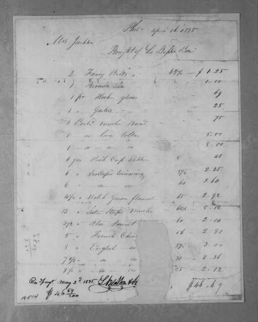 L. Besson & Son to Sarah Yorke Jackson, May 2, 1835