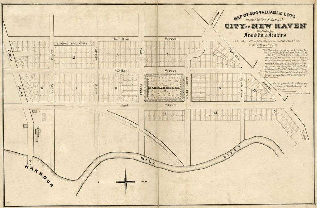 Map of 400 valuable lots in the eastern section of the city of New Haven : for sale by Franklin & Jenkins on Thursday 24th Septr. 1835 at 12 o'clock at the Merchts. Ex. in the city of New York /