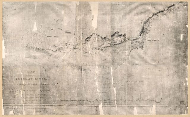 Map of part of the Potomac River, from the head of tide water to Alexandria : with its lateral canals, soundings, and topography /