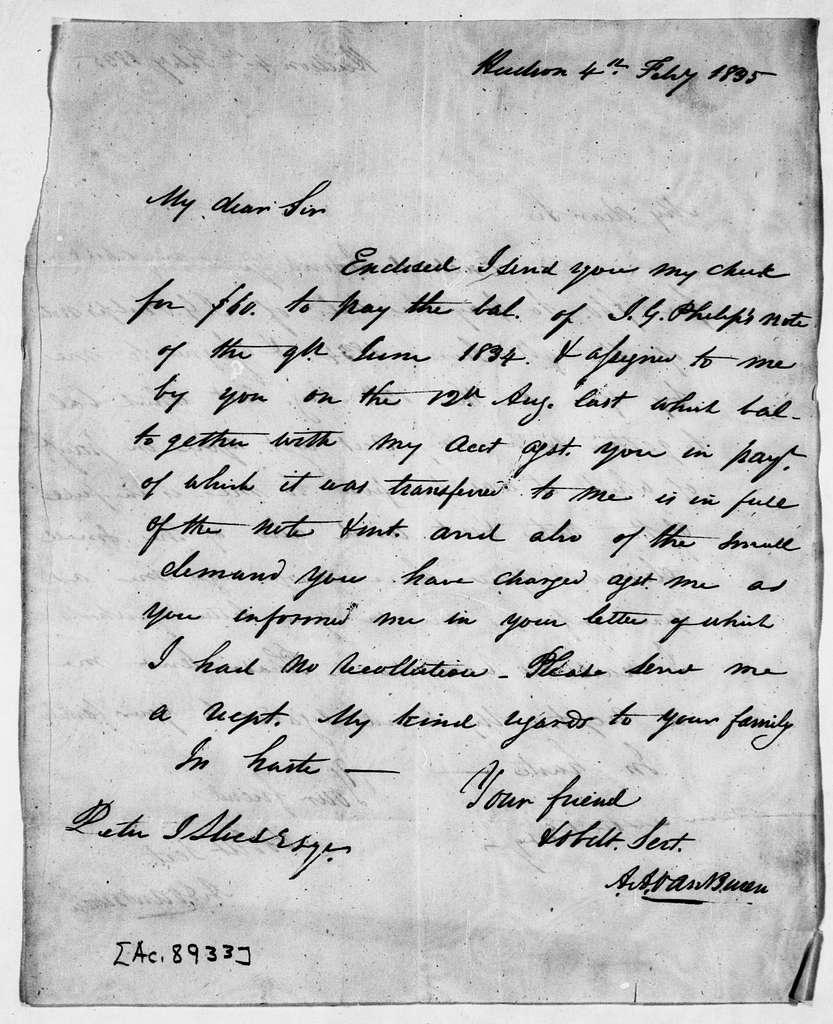 Martin Van Buren Papers: Series 3, Additional Correspondence, 1811-1853; Originals; 1835
