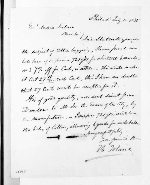 N. Blaine to Andrew Jackson, July 10, 1835