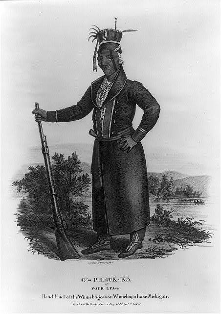 O'-Check-Ka or Four Legs Head Chief of the Winnebagoes on Winnebago Lake, Michigan / / painted at the Treaty of Green Bay 1827 by J.O. Lewis ; Lehman & Duval Lithrs.
