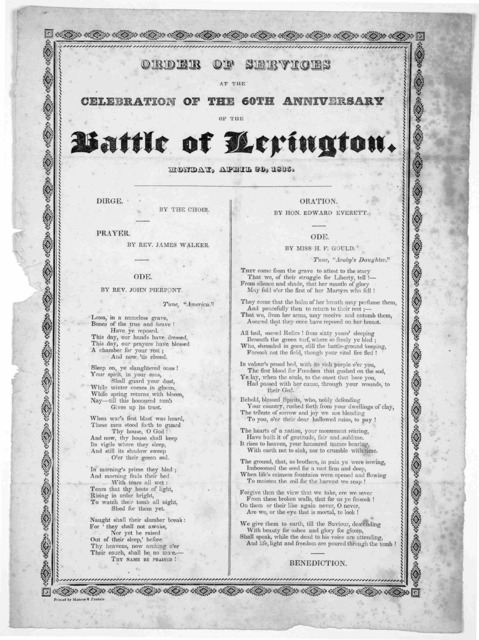 Order of services at the celebration of the 60th anniversary of the Battle of Lexington. Monday, April 20, 1835.