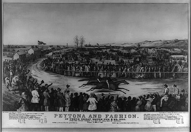 Peytona and Fashion: in their great match for $20,000. over the Union Course L.I. May 13th. 1845, won by Peytona, time 7:39 3/4 7:45 1/4