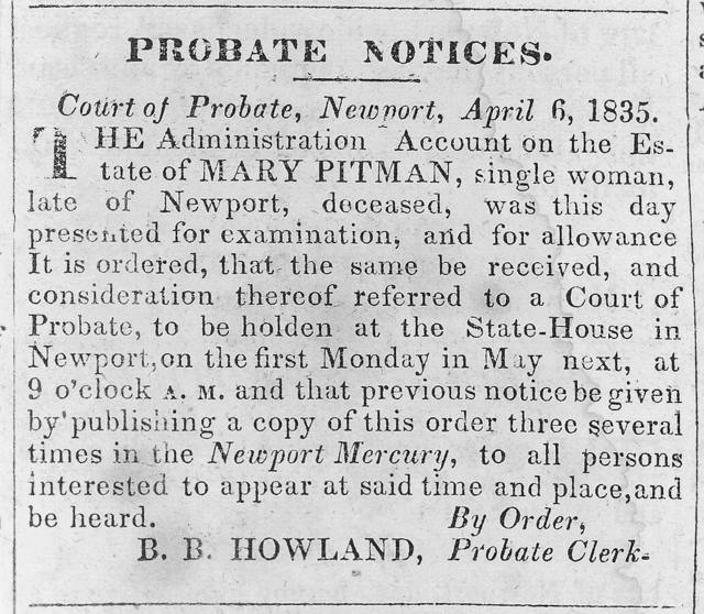 [Probate notice for Mary Pitman, single woman]