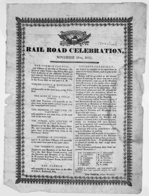 Rail road celebration, November 18th 1835. [Norwich, 1835].