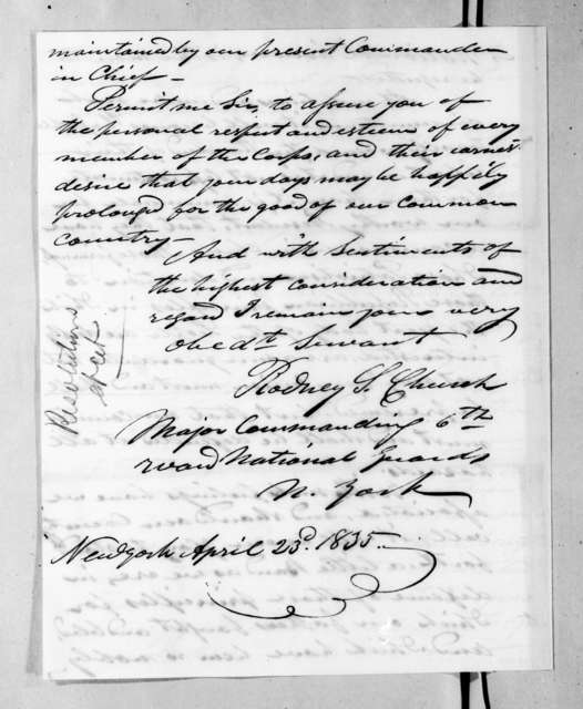 Rodney S. Church to Andrew Jackson, April 23, 1835