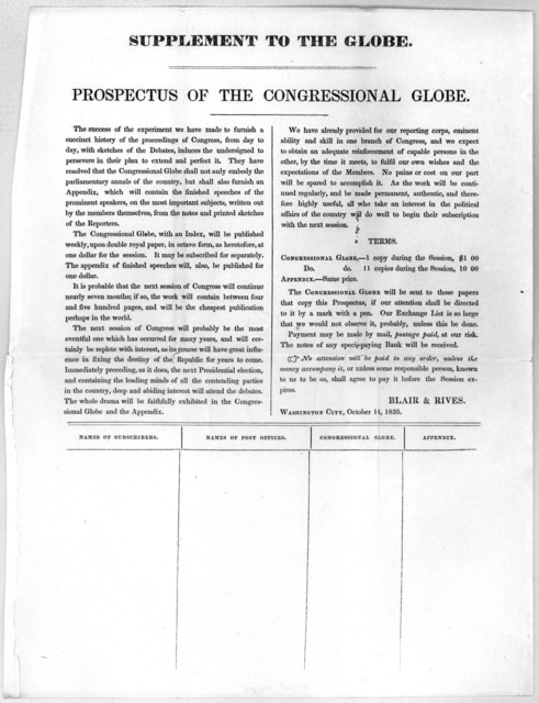 Supplement to the Globe. Prospectus of the Congressional Globe. Washington City October 1, 1835.