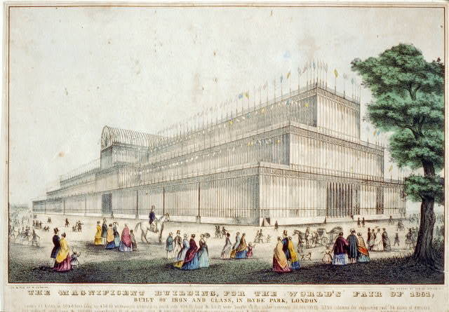 The magnificent building, for the World's Fair of 1851: built of iron and glass, in Hyde Park, London