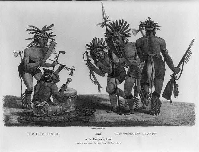 The pipe dance and the tomahawk dance / F. Barinsou ; painted at the treaty of Prairie du Chien 1825 by J.O. Lewis ; Lehman & Duval Lithrs.