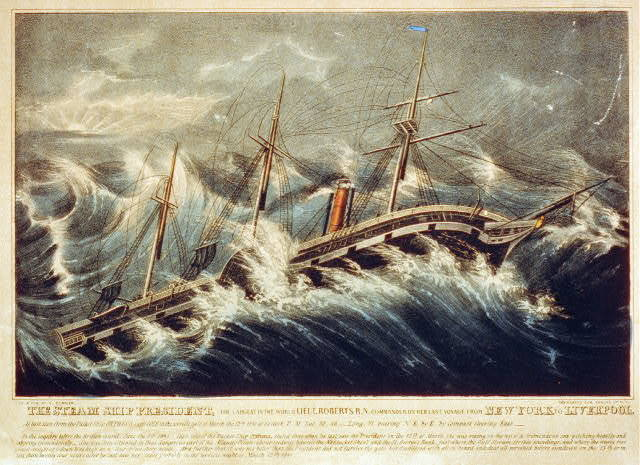 The steam ship President, the largest in the world Lieut. Roberts R.N. Commander on her last voyage from New York to Liverpool: as last seen from the packet ship Orpheus, Capt. Cole in the terrific gale of March the 12th 1841 at 5 o'clock p.m. lat. 39, 46 long. 71, bearing N.E. by E. by compass steering East