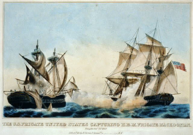The U.S. frigate United States capturing H.B.M. frigate Macedonian: fought, Octr. 25th. 1812 / lith. & pub. by N. Currier.