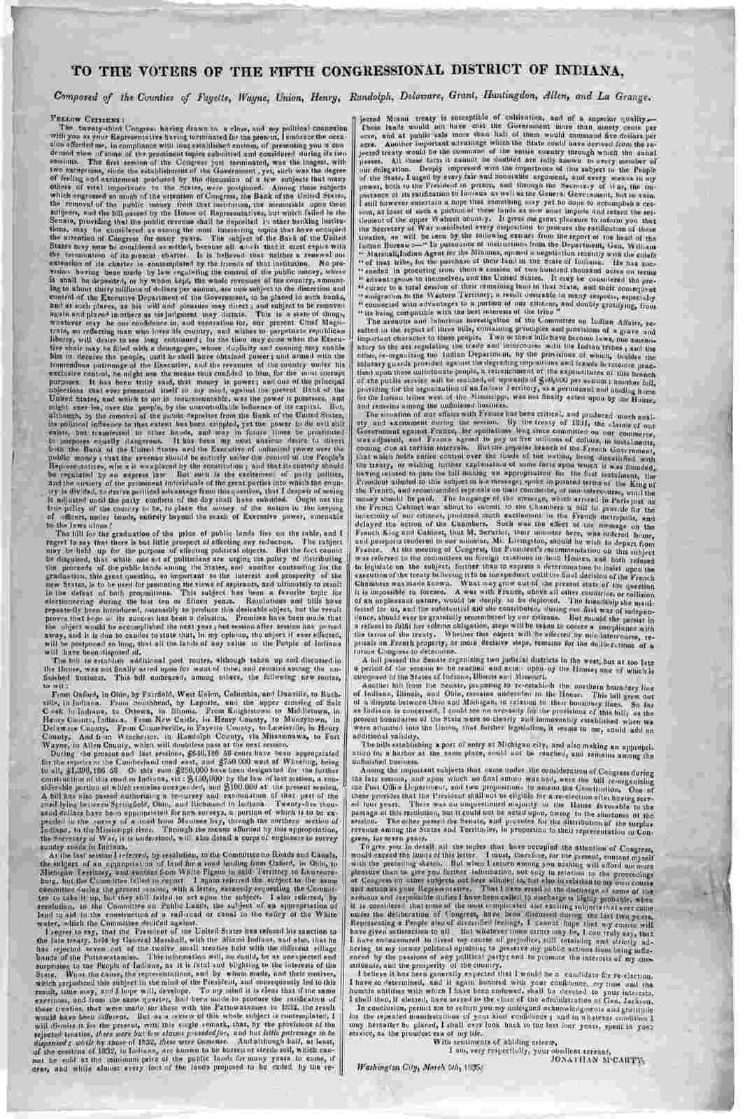 To the voters of the fifth Congressional district of Indiana. Composed of the counties of Fayette, Wayne, Union, Henry, Randolph, Delaware, Grant, Huntington, Allen and La Grange ... Jonathan M'Carty, Washington City, March 5th 1835.