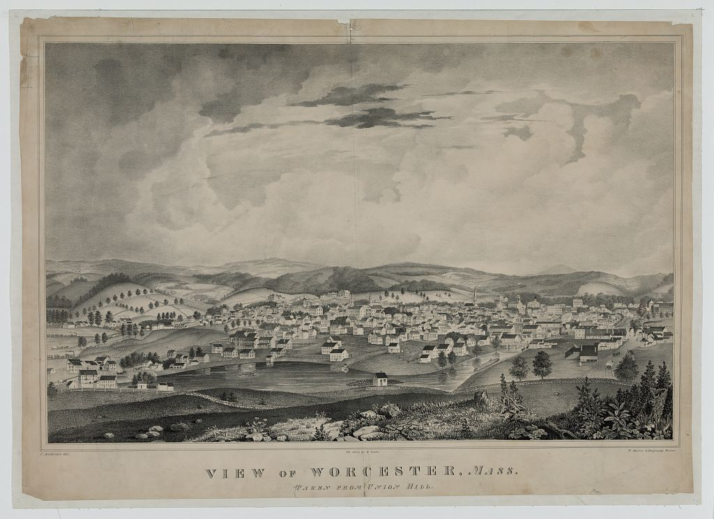 View of Worcester, Mass. taken from Union Hill / P. Anderson del. ; on stone by R. Cooke ; T. Moore's Lithography, Boston.