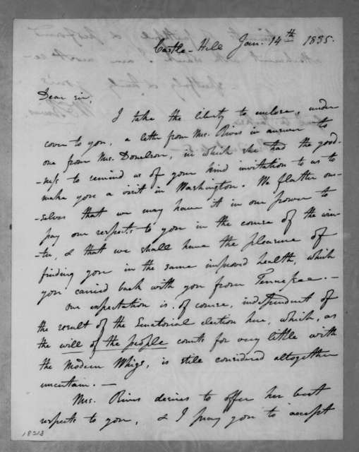 William Cabell Rives to Andrew Jackson, January 14, 1835