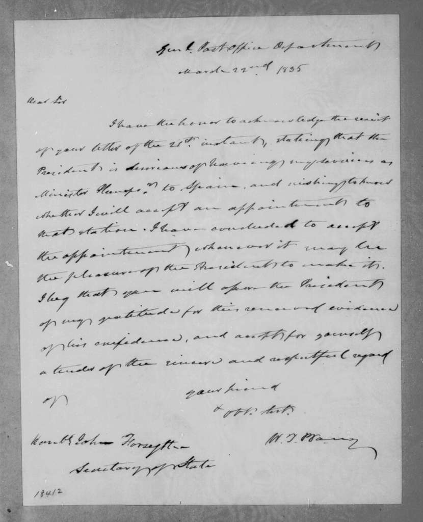 William Taylor Barry to John Forsyth, March 22, 1835
