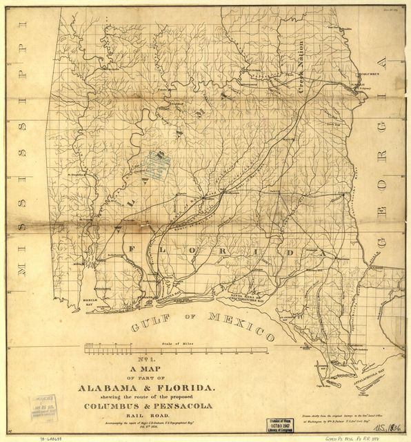 A map of part of Alabama & Florida, showing the route of the proposed Columbus & Pensacola Rail Road, accompanying the report of Major J. D. Graham, U.S. Topographical Engr. Feb. 6th, 1836; drawn chiefly from the original surveys in the Gen. Land Office at Washington by Wm. R. Palmer, U.S. Asst. Civil Engr.