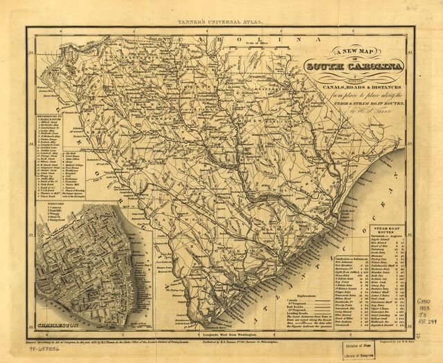 A new map of South Carolina with its canals, roads & distances from place to place along the stage & steam boat routes.