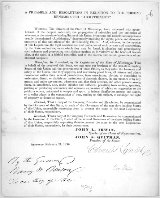 """A preamble and resolutions in relation to the persons denominated """"Abolitionists"""" ... Approved. February 27, 1836. [n. p. 1836]."""