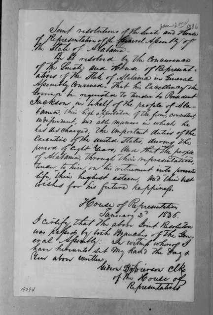 Alabama Legislature, January 2, 1836