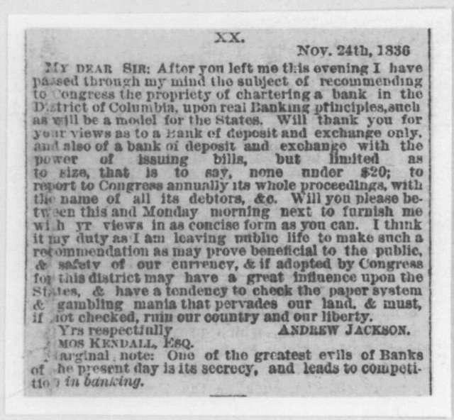 Andrew Jackson to Amos Kendall, November 24, 1836