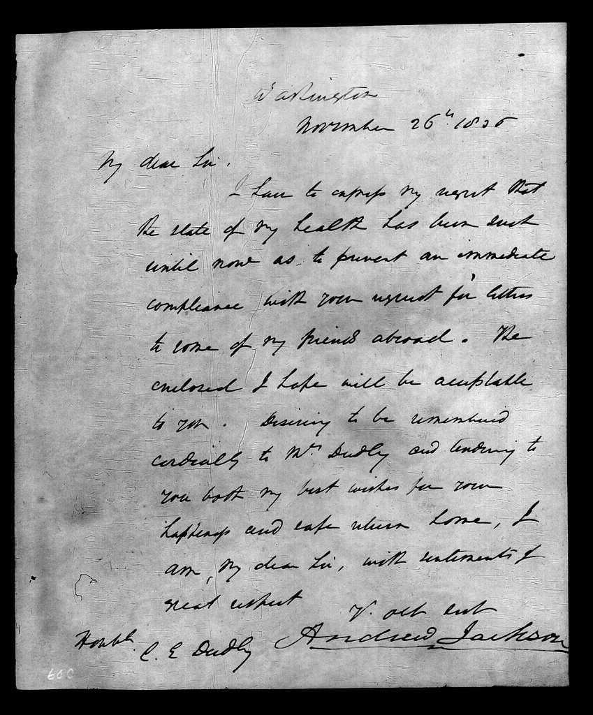 Andrew Jackson to C. E. Dudley, November 26, 1836